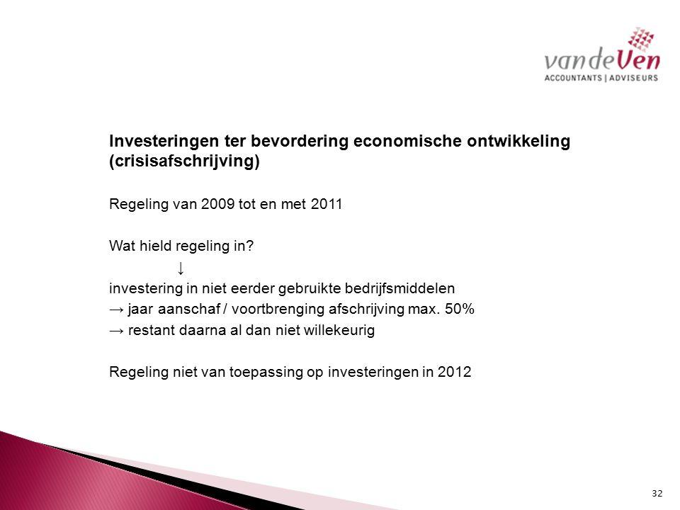 Investeringen ter bevordering economische ontwikkeling (crisisafschrijving) Regeling van 2009 tot en met 2011 Wat hield regeling in.