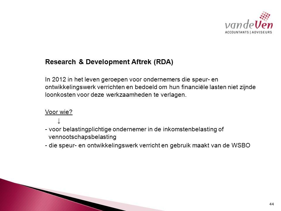 Research & Development Aftrek (RDA)
