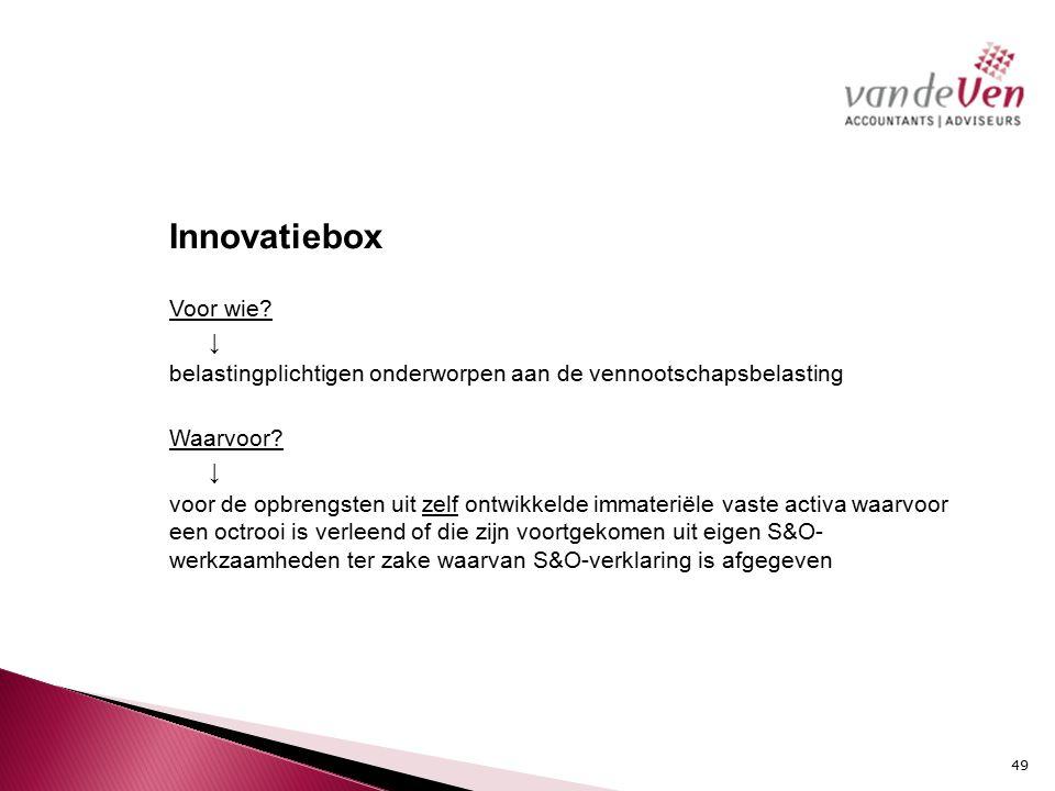 Innovatiebox Voor wie. ↓ belastingplichtigen onderworpen aan de vennootschapsbelasting Waarvoor.