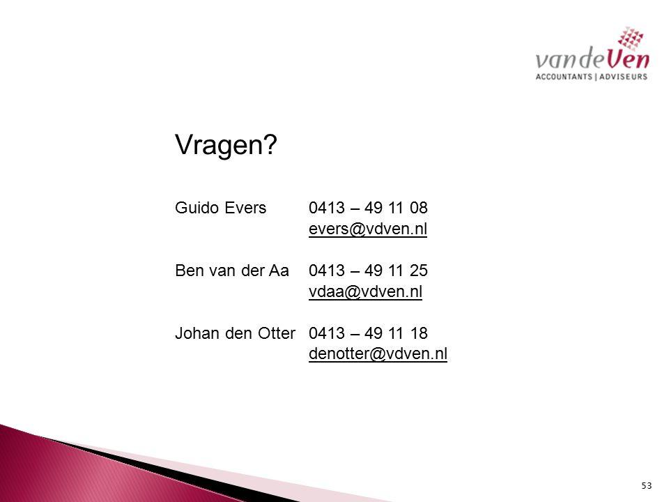 evers@vdven.nl Ben van der Aa 0413 – 49 11 25 vdaa@vdven.nl