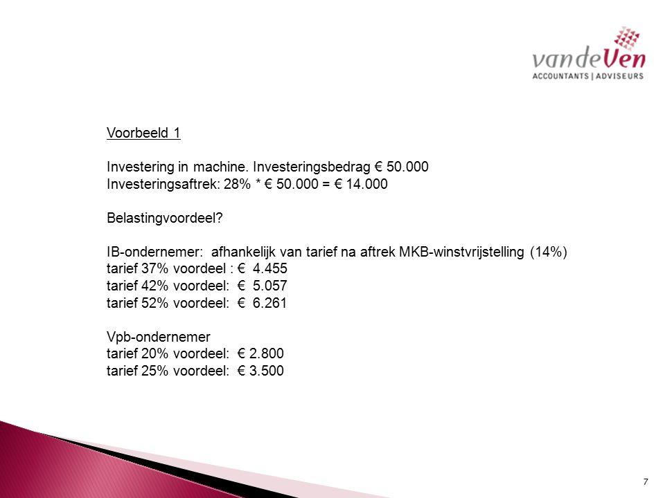 Voorbeeld 1 Investering in machine. Investeringsbedrag € 50