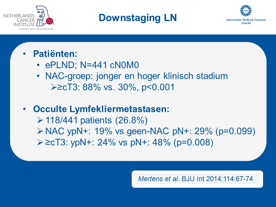 Downstaging LN Patiënten: ePLND; N=441 cN0M0