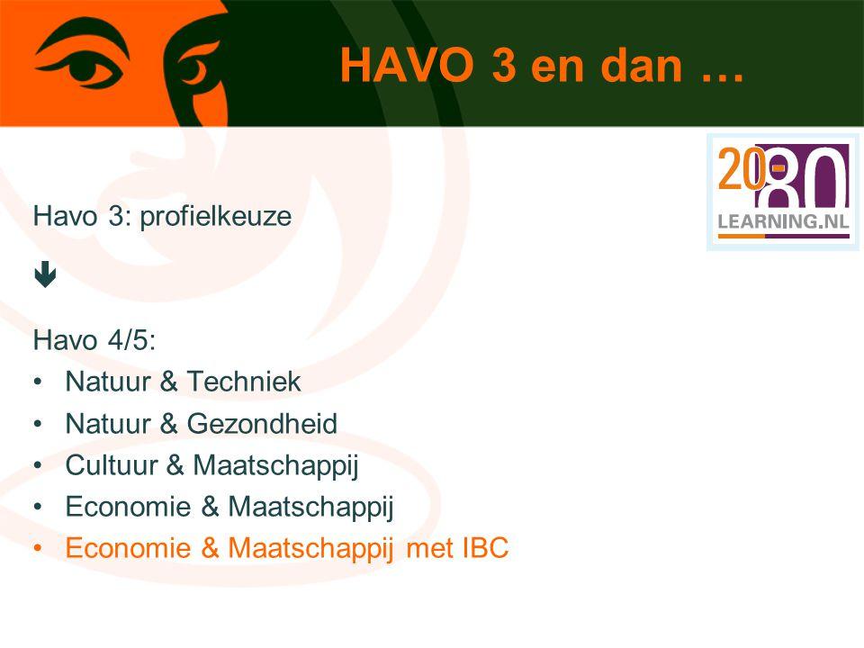 HAVO 3 en dan … Havo 3: profielkeuze  Havo 4/5: Natuur & Techniek