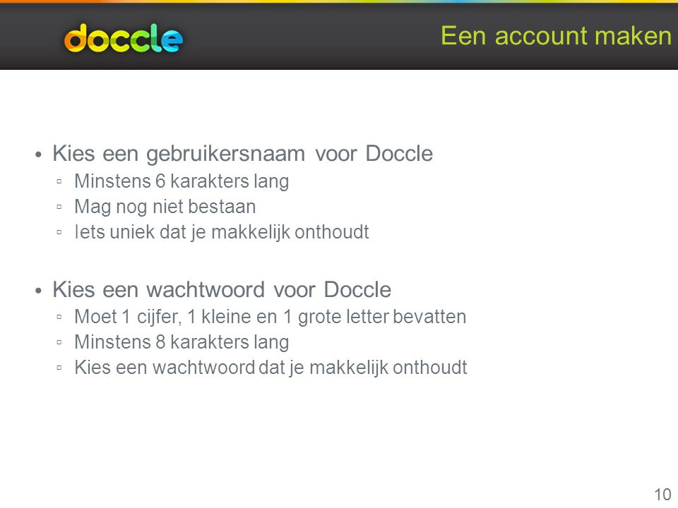 Een account maken Kies een gebruikersnaam voor Doccle