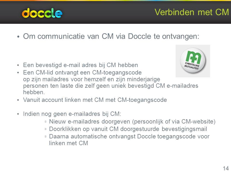 Verbinden met CM Om communicatie van CM via Doccle te ontvangen: