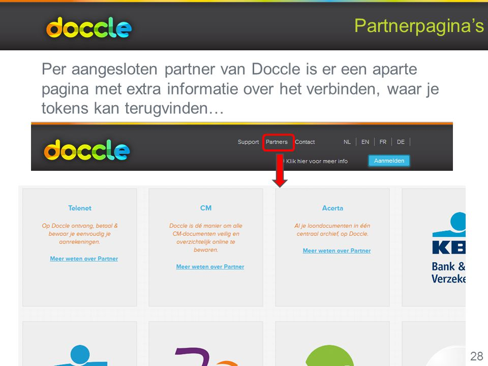 Partnerpagina's Per aangesloten partner van Doccle is er een aparte pagina met extra informatie over het verbinden, waar je tokens kan terugvinden…