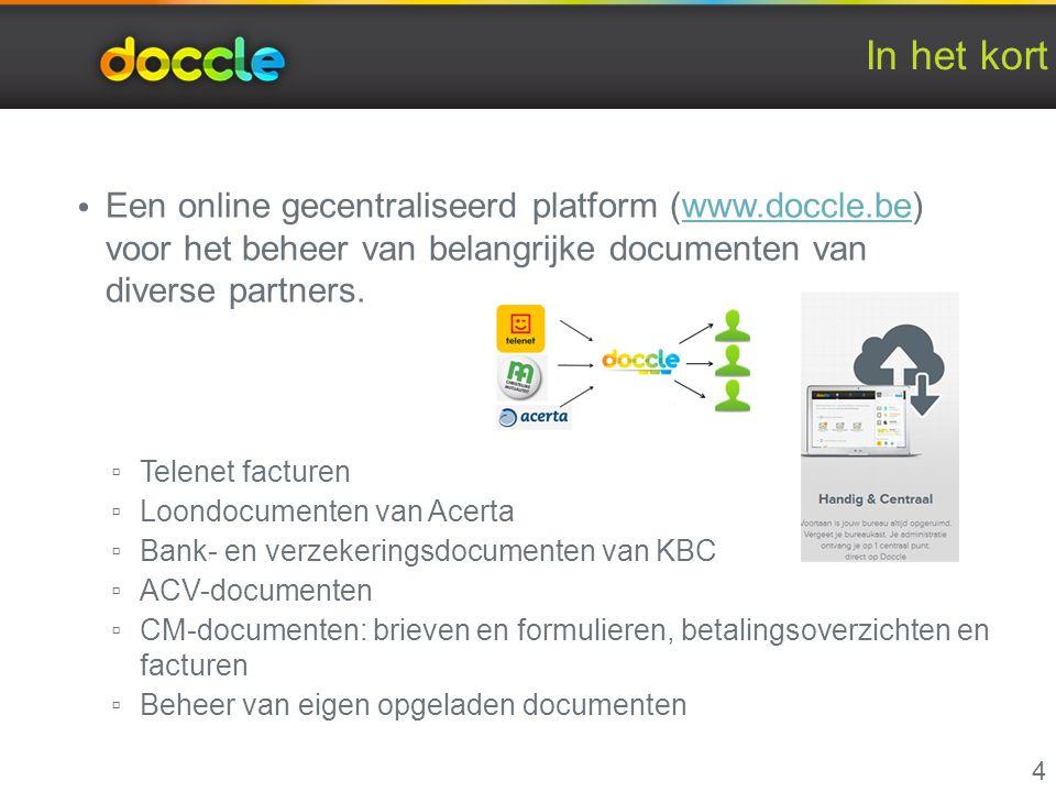 In het kort Een online gecentraliseerd platform (www.doccle.be) voor het beheer van belangrijke documenten van diverse partners.