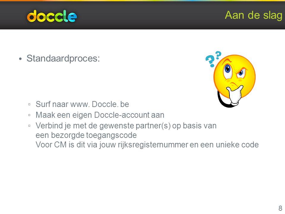 Aan de slag Standaardproces: Surf naar www. Doccle. be