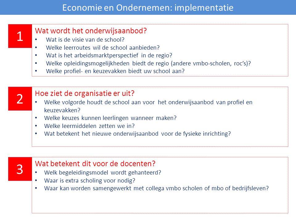 Economie en Ondernemen: implementatie