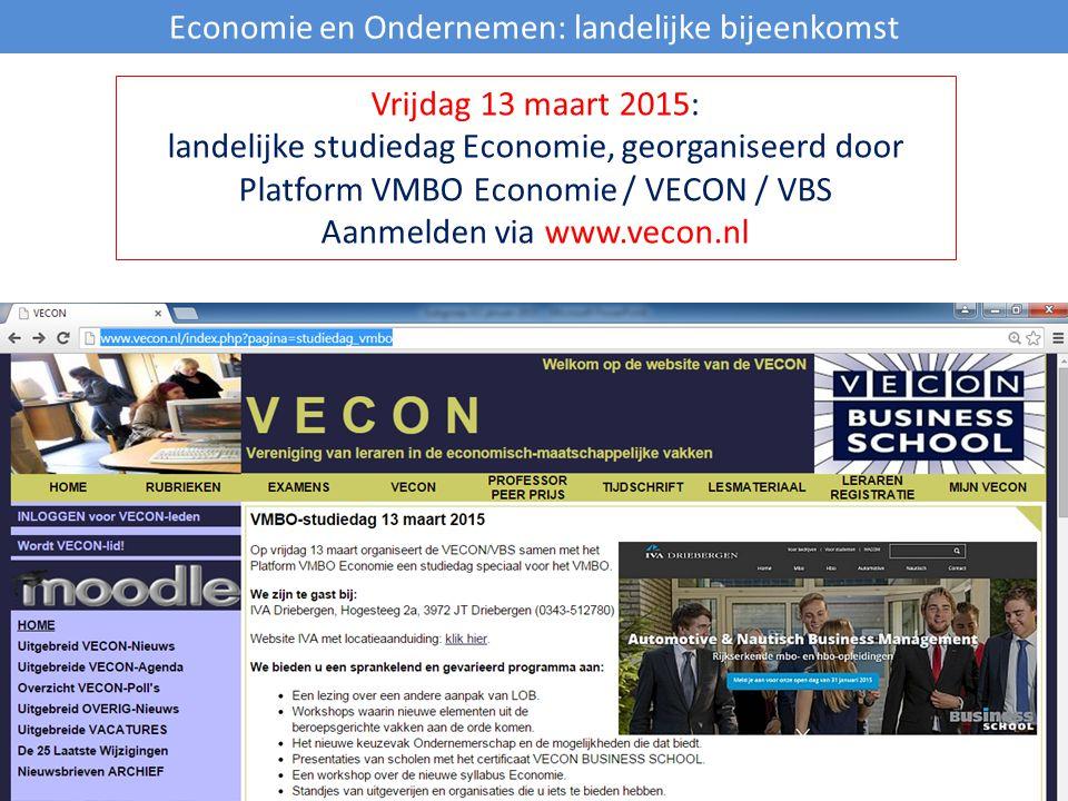 Economie en Ondernemen: landelijke bijeenkomst