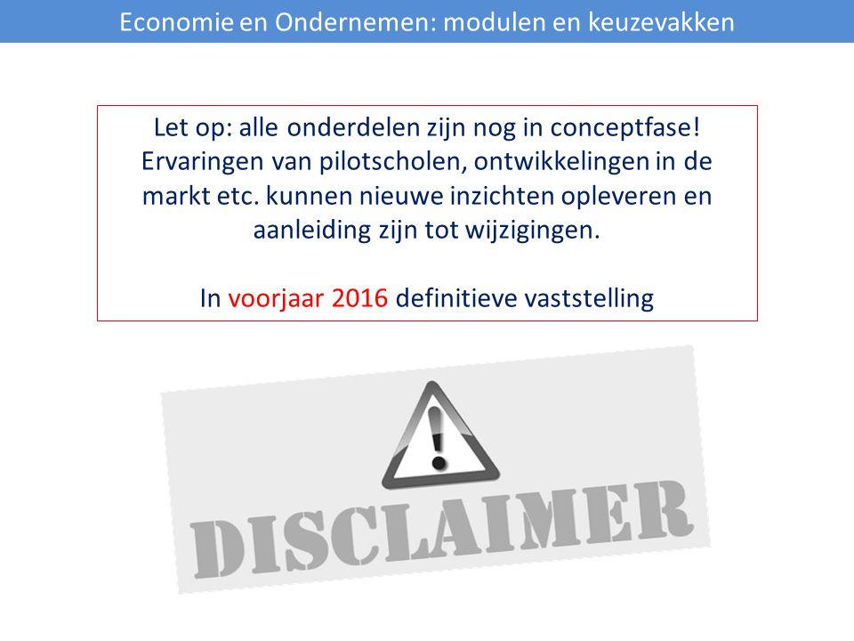 Economie en Ondernemen: modulen en keuzevakken