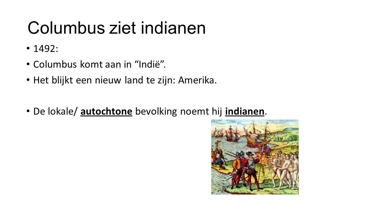 Columbus ziet indianen