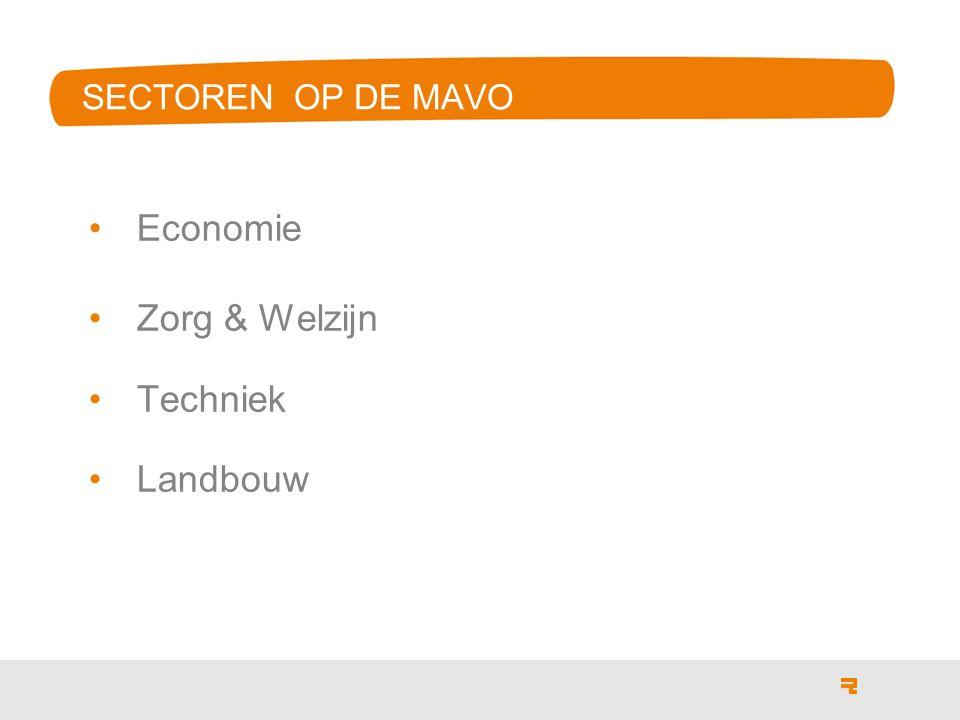 SECTOREN OP DE MAVO Economie Zorg & Welzijn Techniek Landbouw