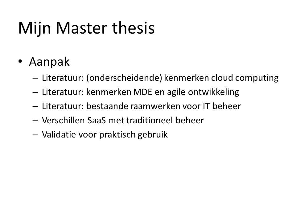 Mijn Master thesis Aanpak