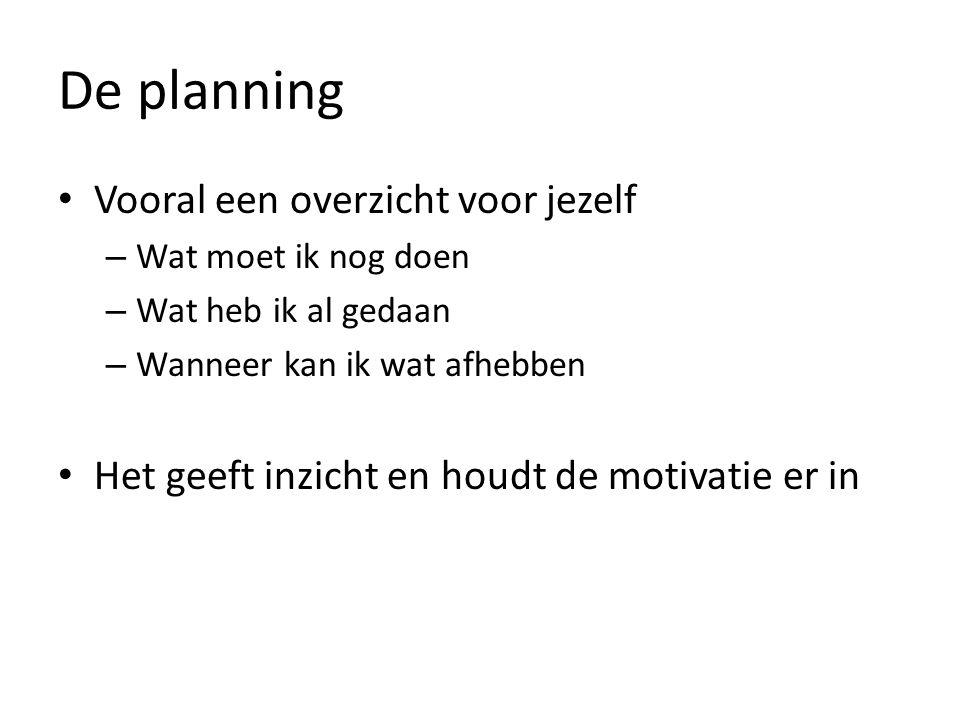 De planning Vooral een overzicht voor jezelf