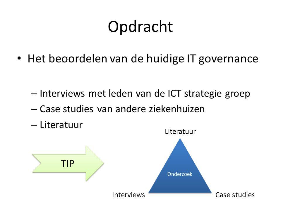 Opdracht Het beoordelen van de huidige IT governance