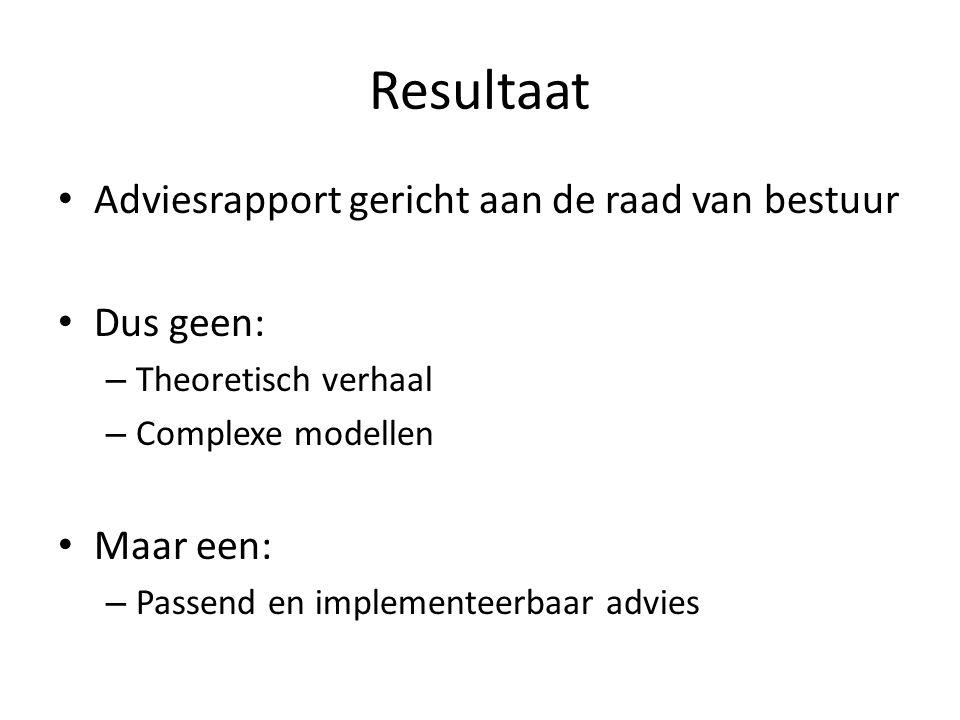 Resultaat Adviesrapport gericht aan de raad van bestuur Dus geen: