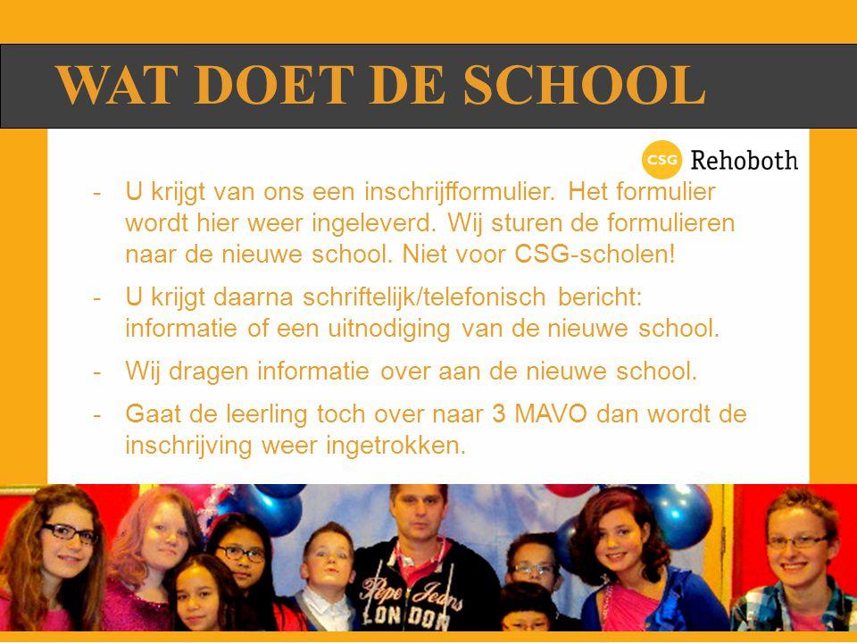 WAT DOET DE SCHOOL
