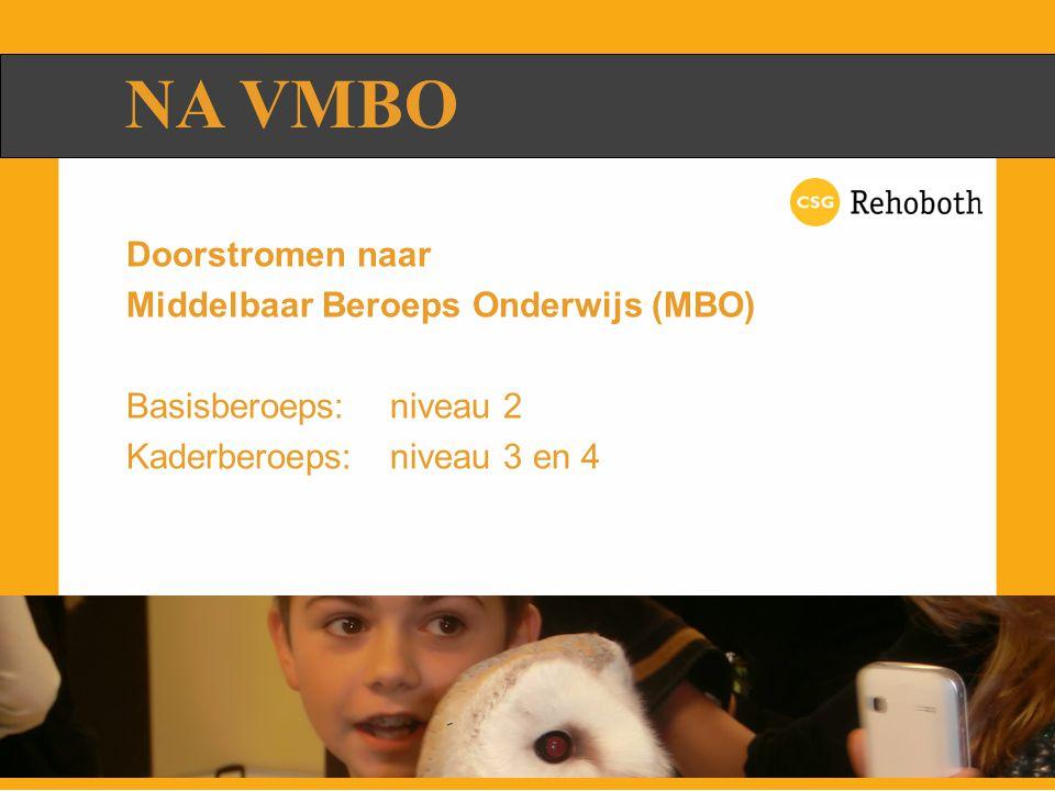 NA VMBO Doorstromen naar Middelbaar Beroeps Onderwijs (MBO) Basisberoeps: niveau 2 Kaderberoeps: niveau 3 en 4