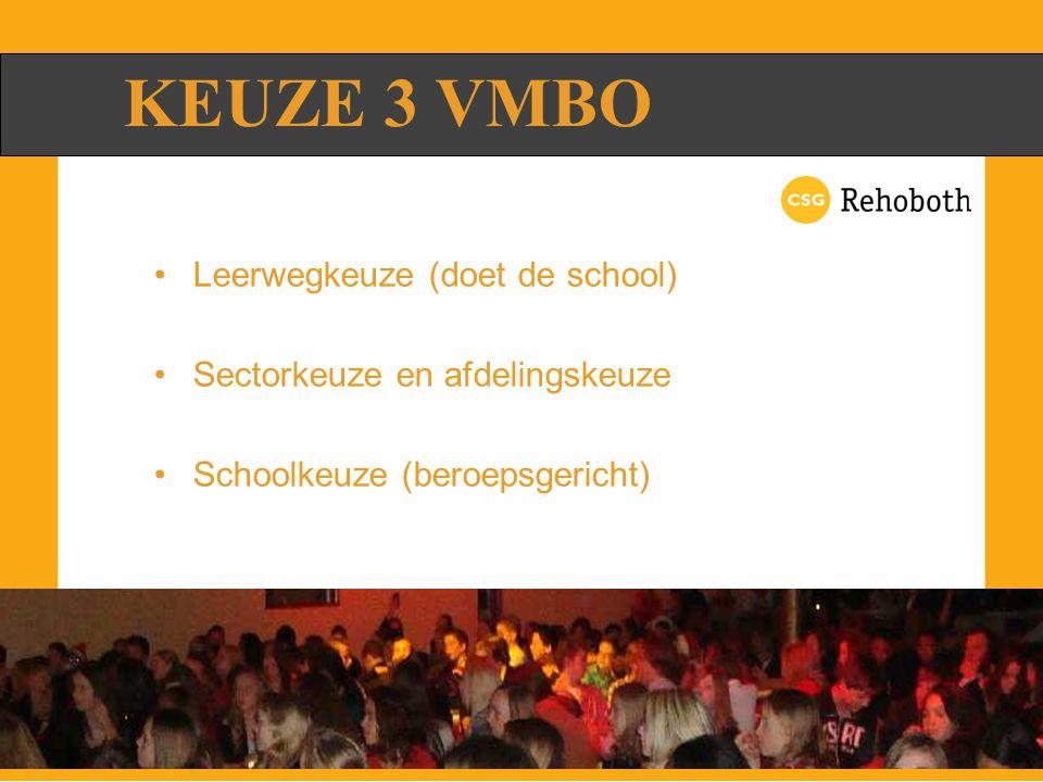 KEUZE 3 VMBO Leerwegkeuze (doet de school)