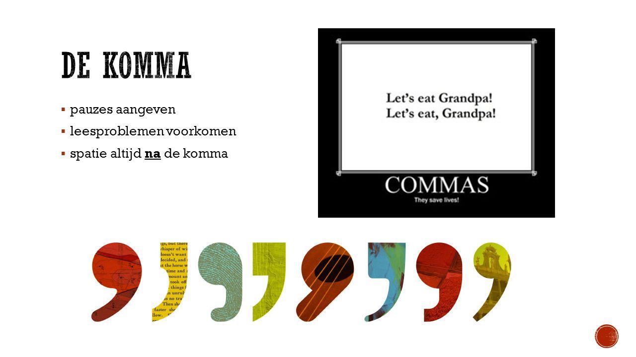 De komma pauzes aangeven leesproblemen voorkomen