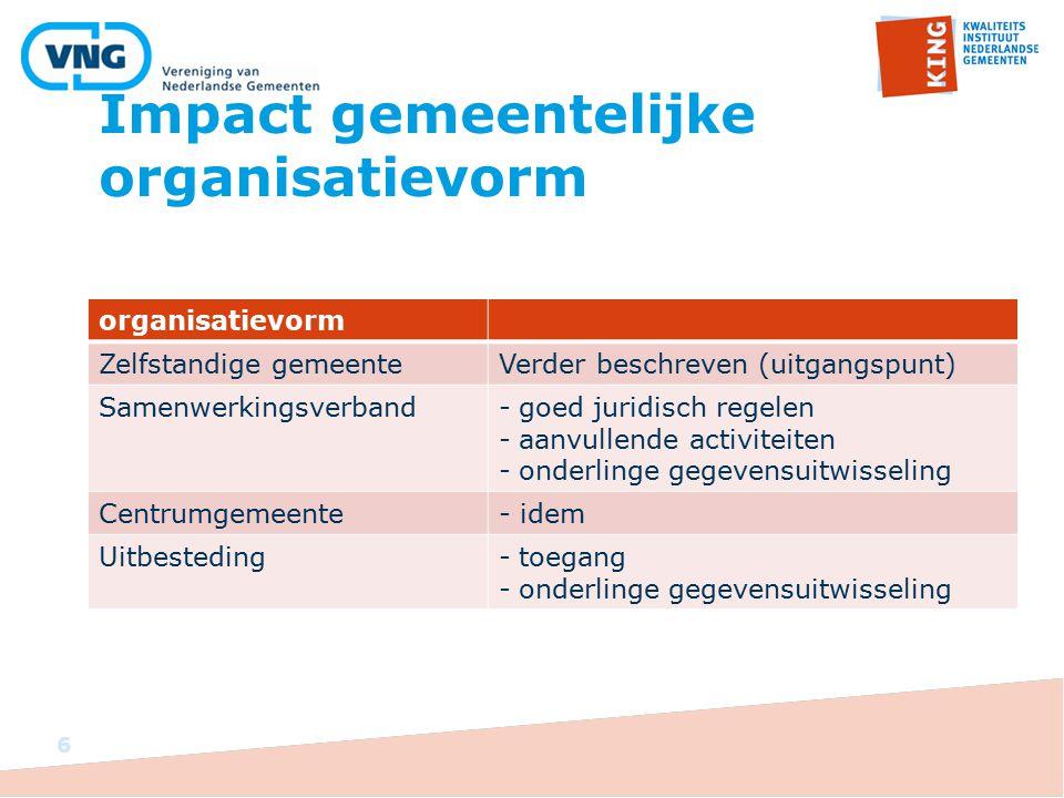 Impact gemeentelijke organisatievorm