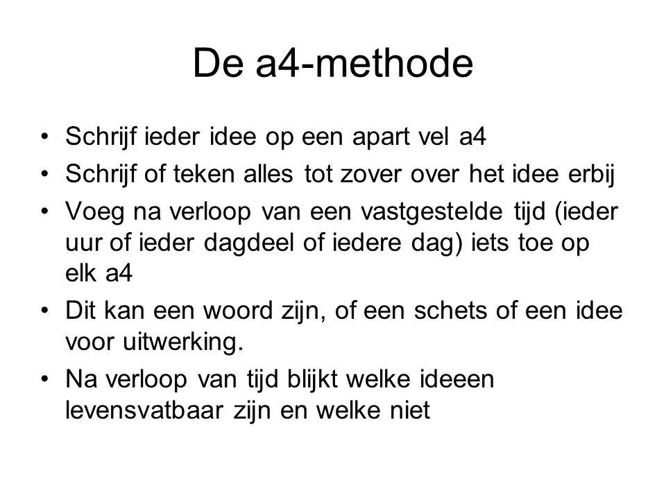 De a4-methode Schrijf ieder idee op een apart vel a4