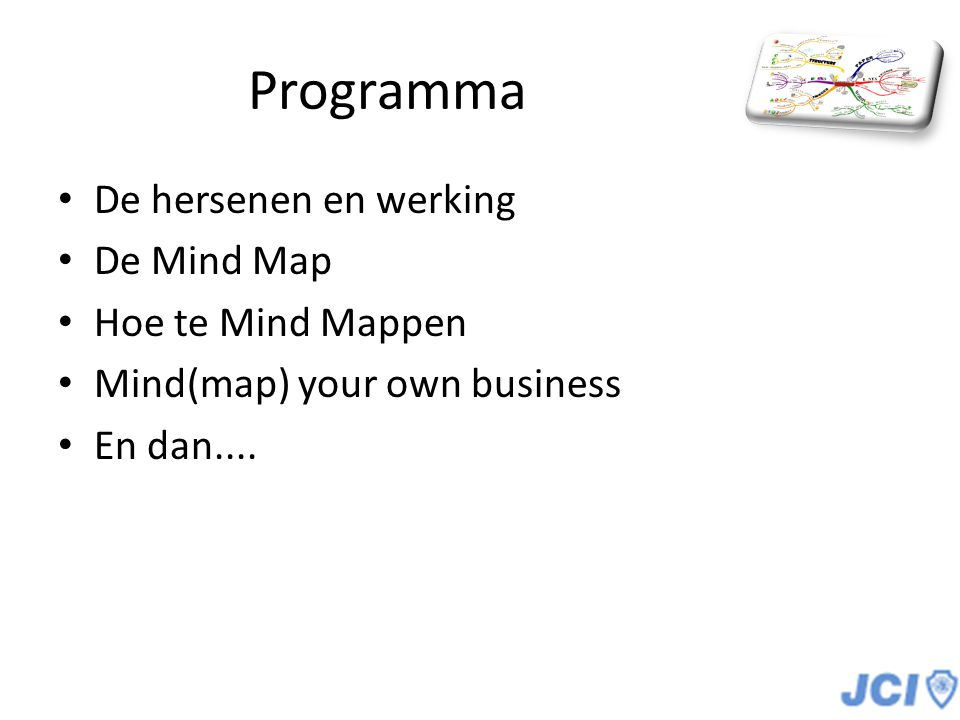 Programma De hersenen en werking De Mind Map Hoe te Mind Mappen