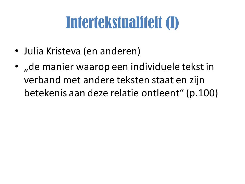 Intertekstualiteit (I)
