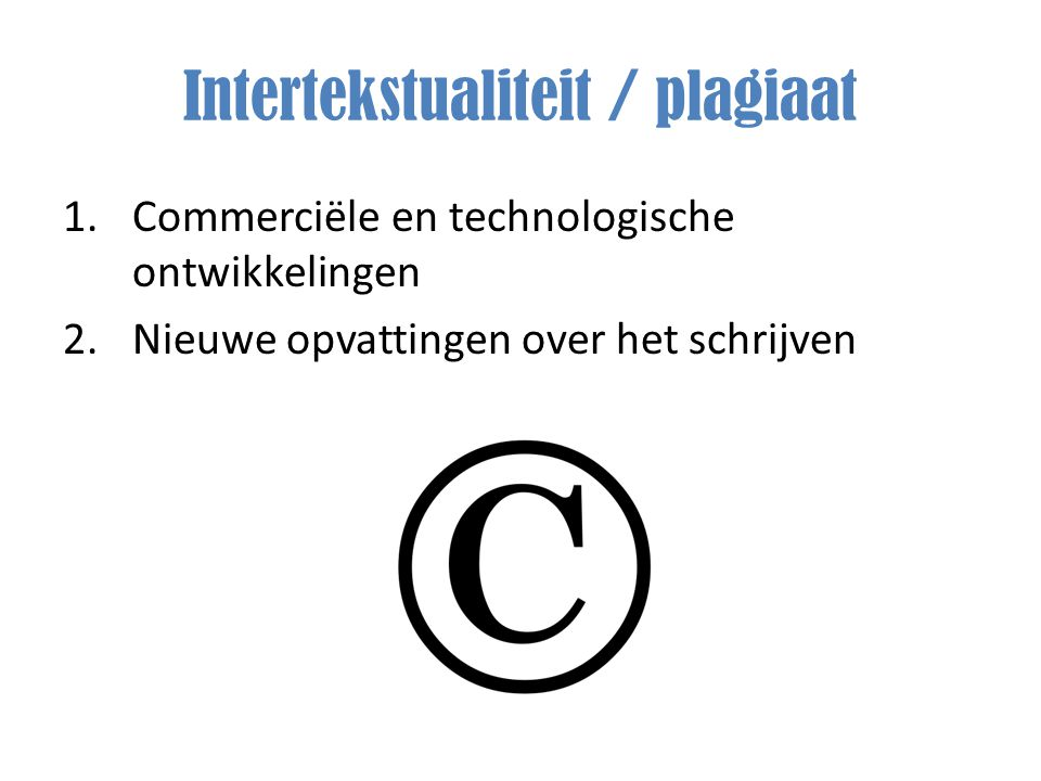 Intertekstualiteit / plagiaat