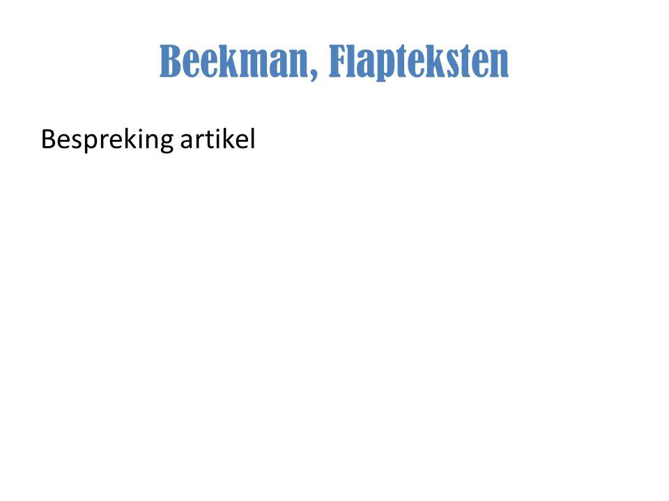 Beekman, Flapteksten Bespreking artikel