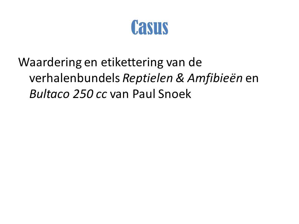 Casus Waardering en etikettering van de verhalenbundels Reptielen & Amfibieën en Bultaco 250 cc van Paul Snoek.