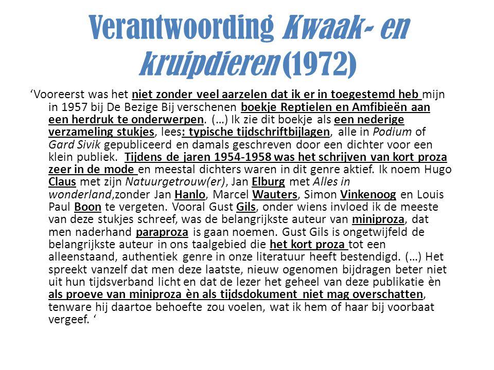 Verantwoording Kwaak- en kruipdieren (1972)