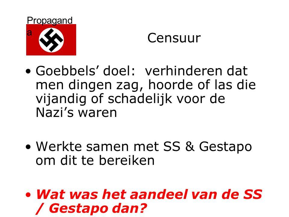 Censuur Goebbels' doel: verhinderen dat men dingen zag, hoorde of las die vijandig of schadelijk voor de Nazi's waren.
