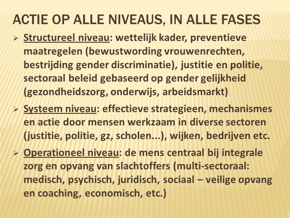 Actie op ALLE Niveaus, IN ALLE FASES
