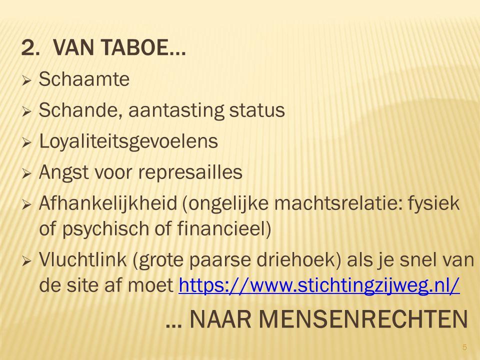 2. Van taboe… … NAAR MENSENRECHTEN Schaamte Schande, aantasting status