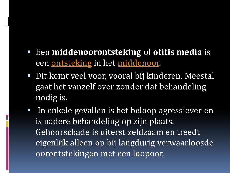 Een middenoorontsteking of otitis media is een ontsteking in het middenoor.