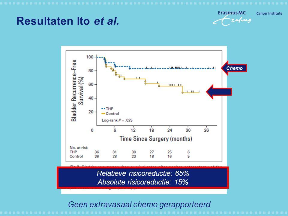 Resultaten Ito et al. Geen extravasaat chemo gerapporteerd
