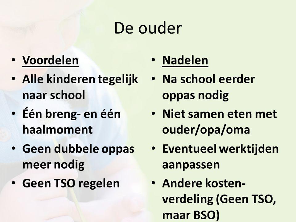 De ouder Voordelen Alle kinderen tegelijk naar school