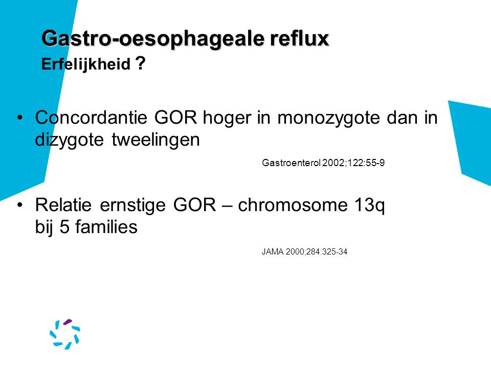 Gastro-oesophageale reflux Erfelijkheid