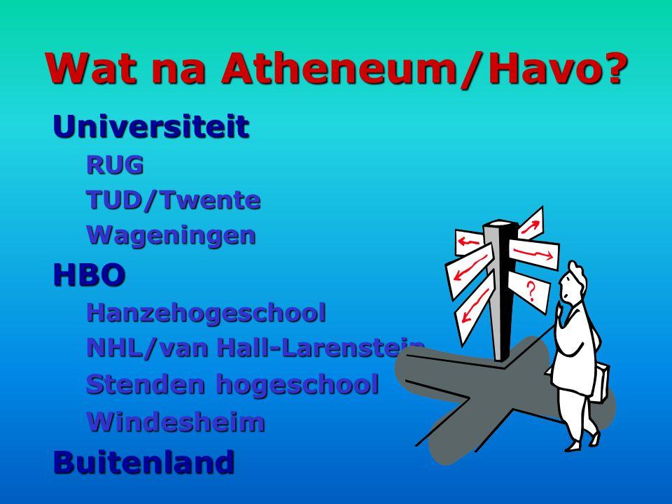 Wat na Atheneum/Havo Universiteit HBO Buitenland Stenden hogeschool