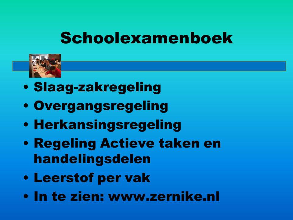 Schoolexamenboek Slaag-zakregeling Overgangsregeling