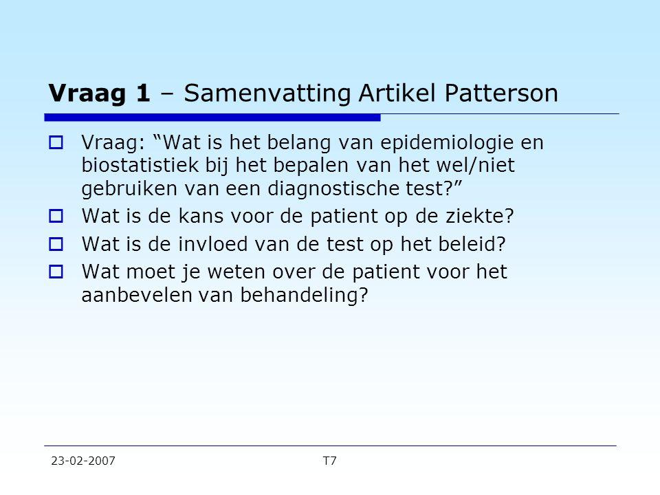 Vraag 1 – Samenvatting Artikel Patterson
