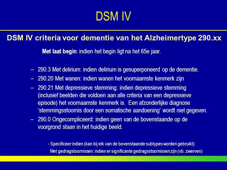 DSM IV DSM IV criteria voor dementie van het Alzheimertype 290.xx