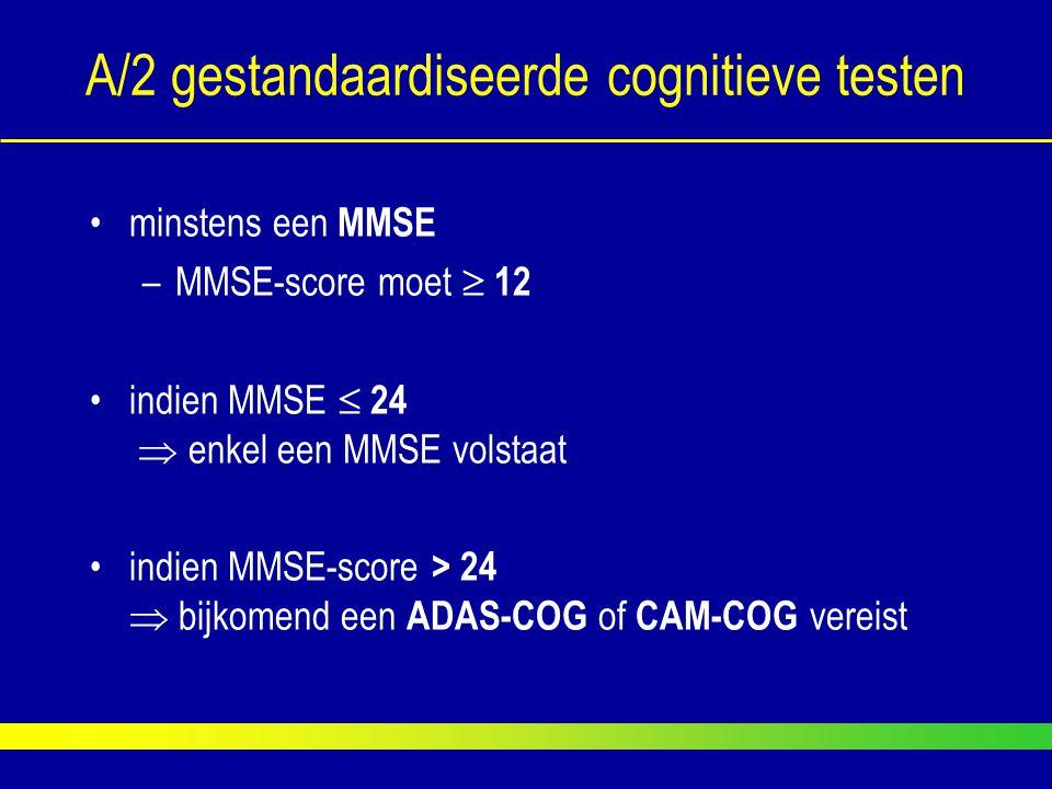 A/2 gestandaardiseerde cognitieve testen