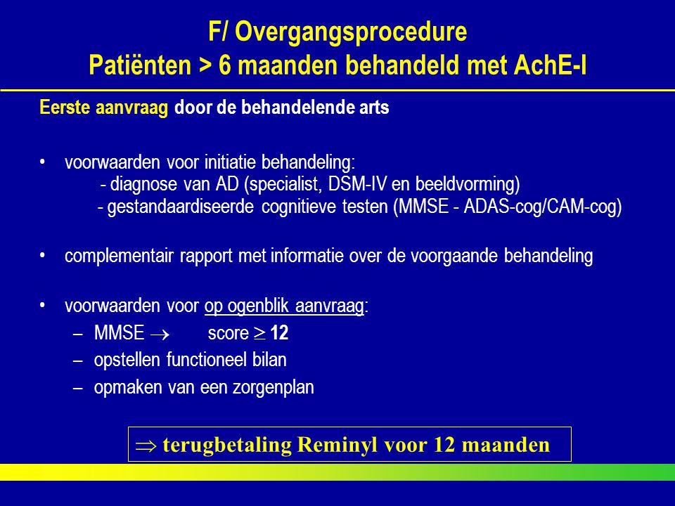 F/ Overgangsprocedure Patiënten > 6 maanden behandeld met AchE-I
