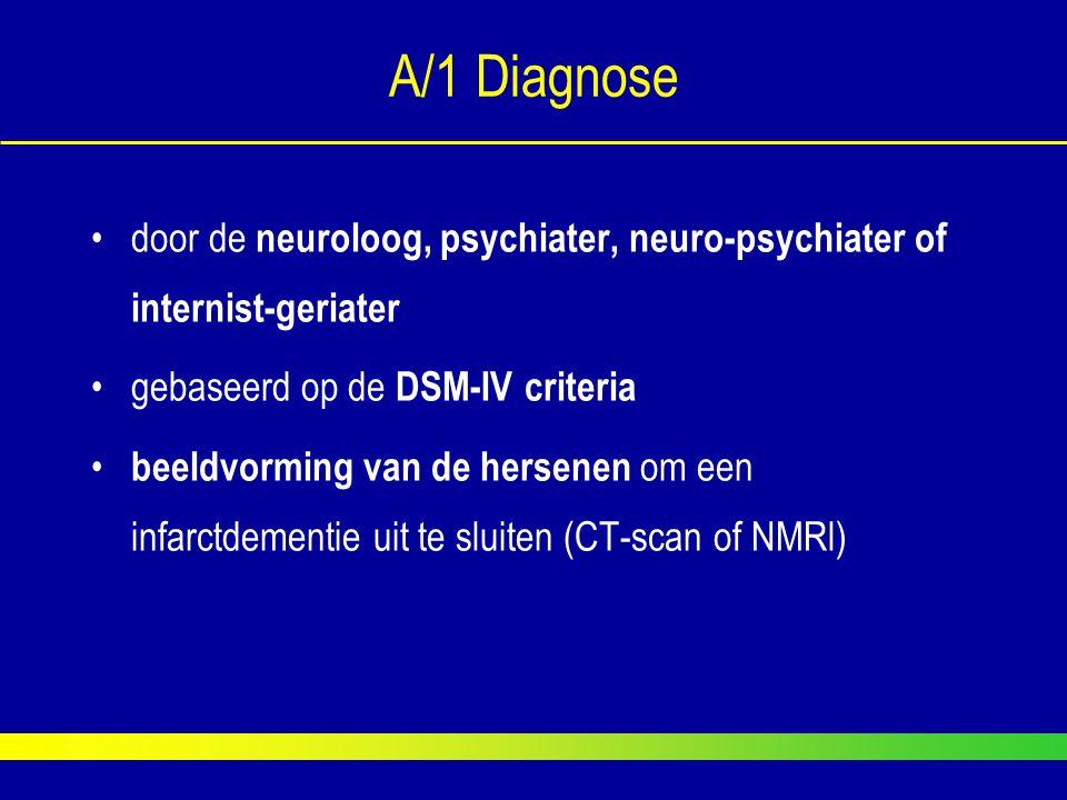 A/1 Diagnose door de neuroloog, psychiater, neuro-psychiater of internist-geriater. gebaseerd op de DSM-IV criteria.