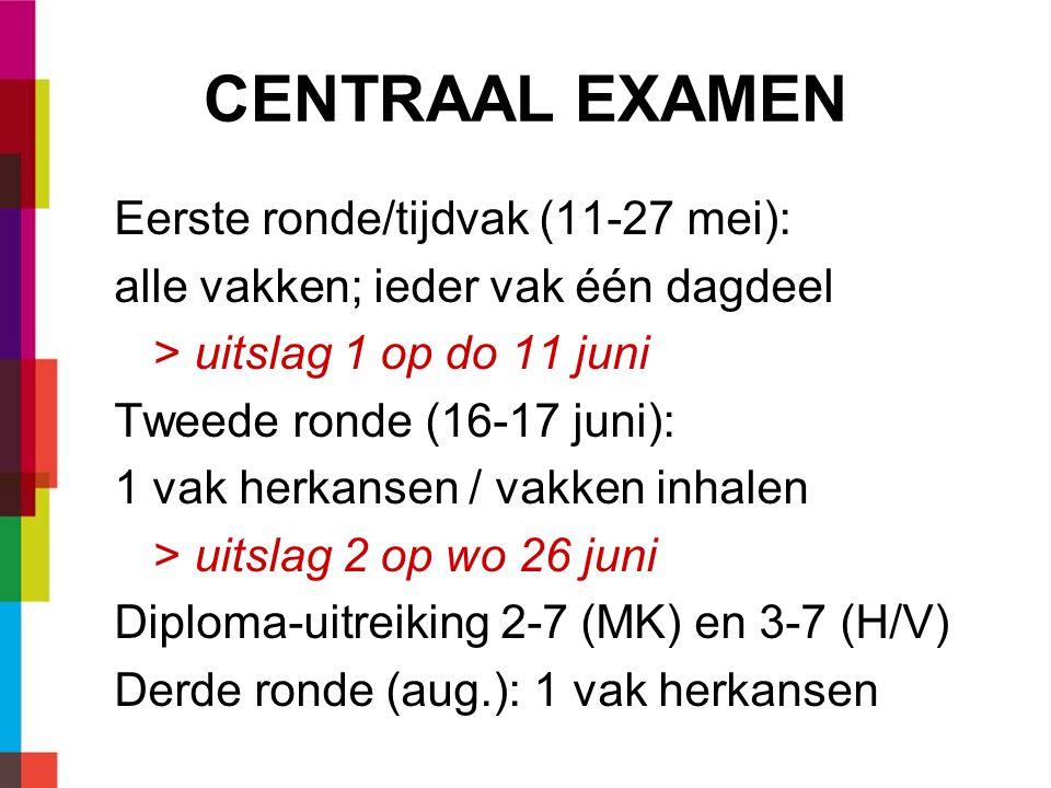 CENTRAAL EXAMEN Eerste ronde/tijdvak (11-27 mei):