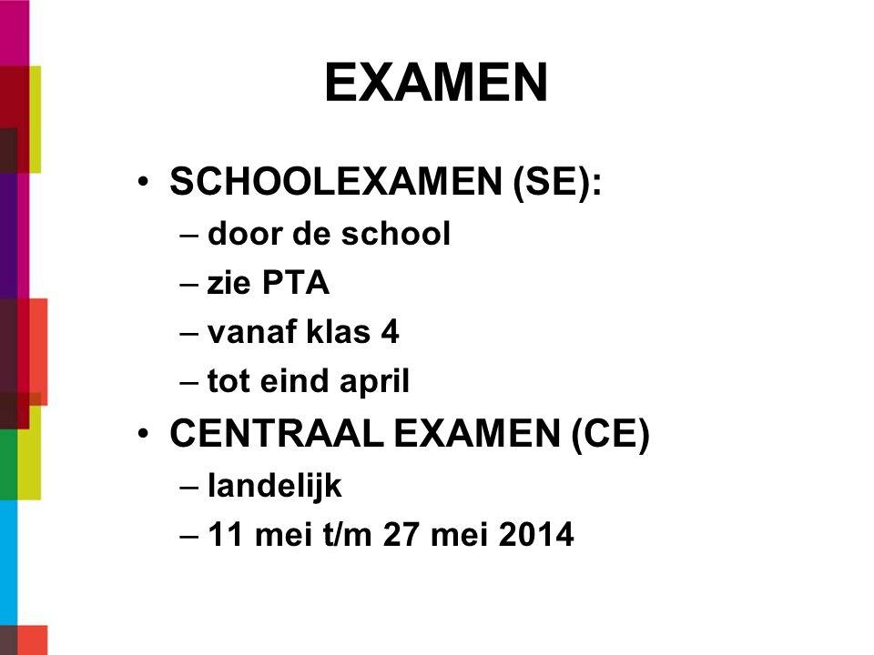 EXAMEN SCHOOLEXAMEN (SE): CENTRAAL EXAMEN (CE) door de school zie PTA
