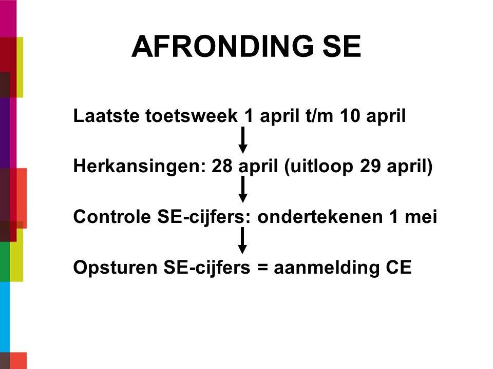AFRONDING SE Laatste toetsweek 1 april t/m 10 april